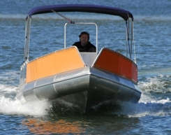 This shot of the Extreme Fisher under way gives an idea of the fuss free ride these craft provide.  Two outboards, 45hp in total, and the Ocean Craft 6OOO Extreme Fisher achieved a remarkable 35.2kph.